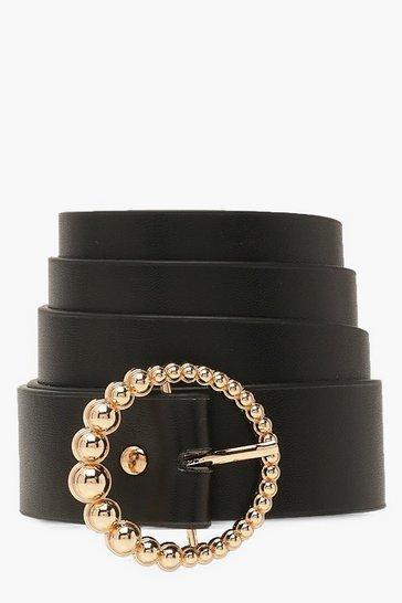 Black Gold Beaded Circle Buckle Belt