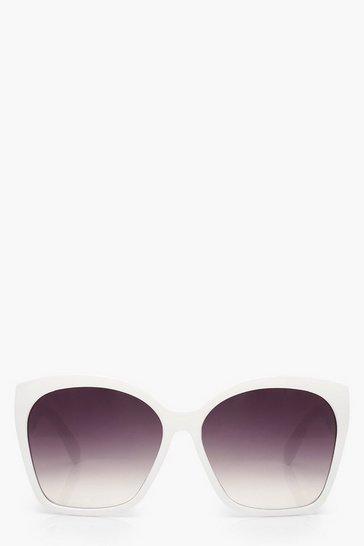 White Oversized Classic Sunglasses