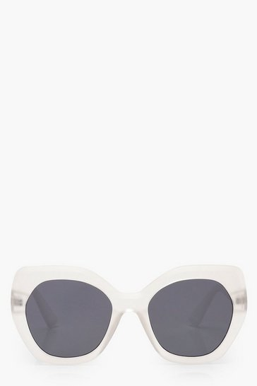 Clear Frosted Oversized Sunglasses