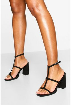 Black Caged Square Toe Block Heels
