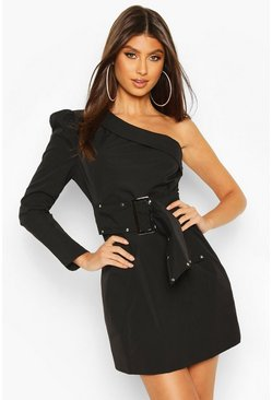 Black One Shoulder Stud Belted Mini Dress