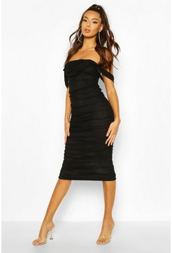 Ruched Mesh Midi Dress, Black
