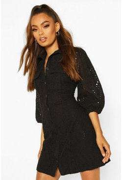 Black Broderie Anglais Puff Sleeve Shirt Dress