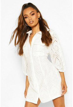 Broderie Anglais Puff Sleeve Shirt Dress, White Белый