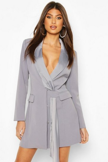 Blue Sash Detail Blazer Dress