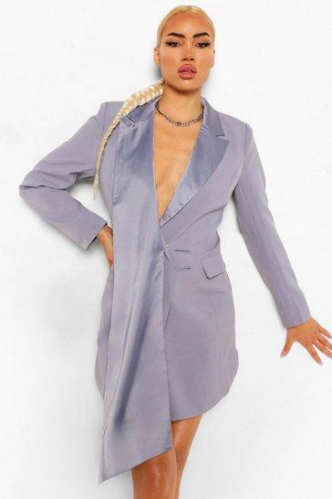 Grey Sash Detail Blazer Dress