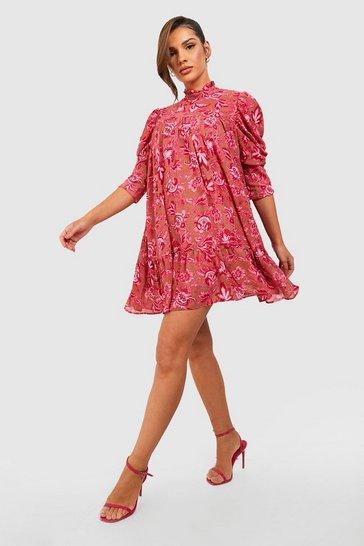 Pink Printed Puff Sleeve Ruffle Neck Smock Dress