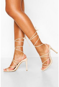 Nude Strappy Tie Stiletto Sandals