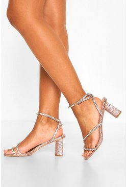 Rose gold metallic Diamante Strappy Block Heels