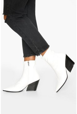 Pointed Western Boots, White blanco
