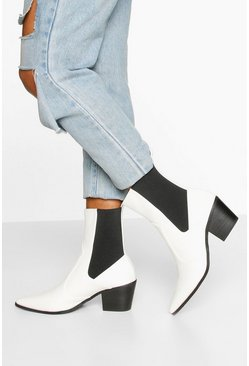 White Elastic Panel Western Boots