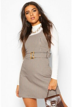 Brown Belted Check Pinafore
