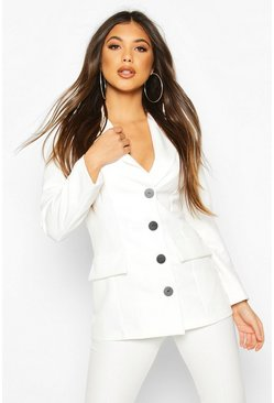 Ivory white Button Down Fitted Blazer