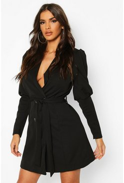 Black Puff Volume Sleeve Blazer Dress