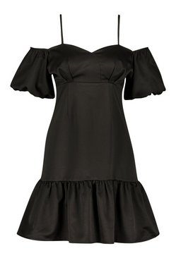 Black Cold Shoulder Puff Sleeve Satin Skater Dress