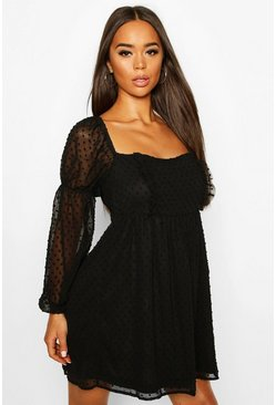 Black Dobby Chiffon Square Neck Dress