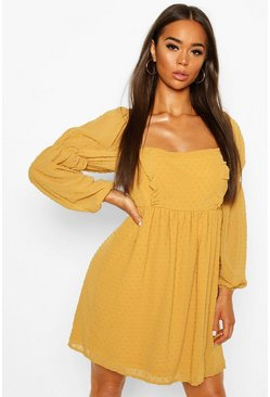 Mustard yellow Dobby Chiffon Square Neck Dress