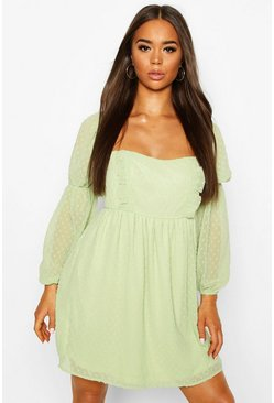 Sage green Dobby Chiffon Square Neck Dress