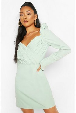 Mint green Puff Sleeve Wrap Detail Skater Dress