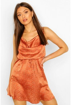 Rust orange Polka Dot Cowl Neck Skater Dress