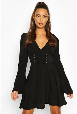 Corset Detail Skater Dress, Black nero