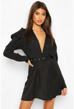 Black Puff Sleeve Plunge Belted Skater Dress