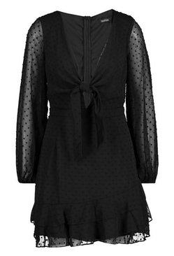 Black Dobby Chiffon Tie Detail Skater Dress