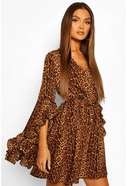 Rust orange Satin Leopard Extreme Flare Sleeve Skater Dress