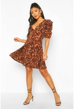Leopard Print Puff Sleeve Skater Dress, Chocolate Коричневый