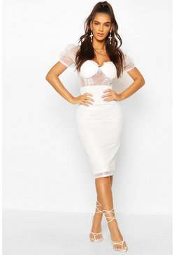Lace Organza Puff Sleeve Midi Dress, White