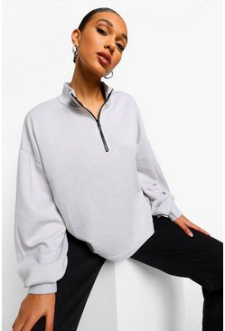 Grey Mix & Match Edition Zip Oversized Sweat