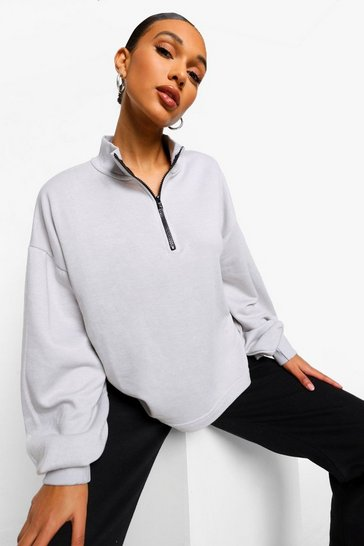 Grey Mix & Match Edition Zip Oversized Sweater