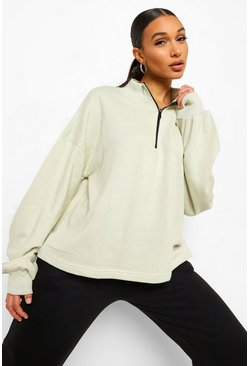 Sage green Mix & Match Edition Zip Oversized Sweater