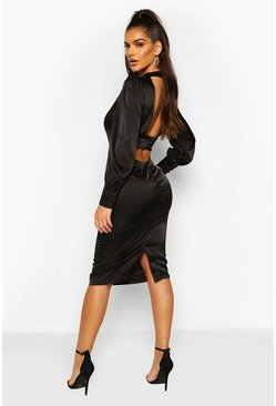 Satin Low Back Button Detail Midi Dress, Black noir