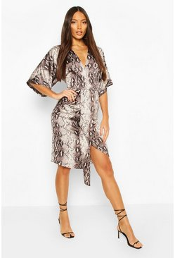 Brown Snake Print Kimono Sleeve Midi Dress