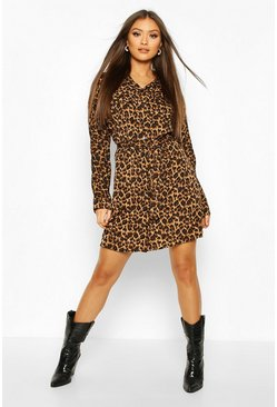 Brown Leopard Print Belted Shirt Dress