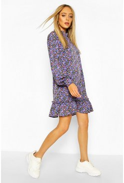 Blue High Neck Dusty Floral Smock Dress
