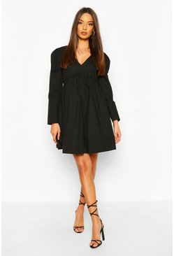 Black Cotton Puff Sleeve Smock Dress