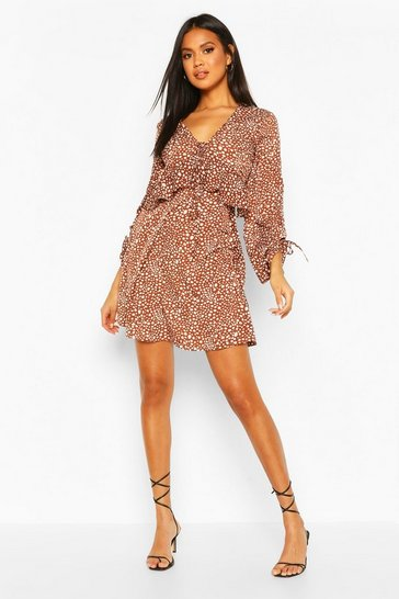 Chocolate brown Dalmation Spot Ruffle Smock Dress