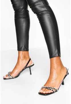 Diamante Low Heel Sandals, Black negro