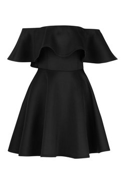 Black Bonded Scuba Off The Shoulder Frill Skater Dress