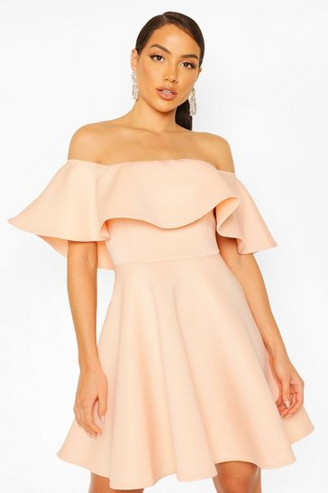 Blush pink Bonded Scuba Off The Shoulder Frill Skater Dress