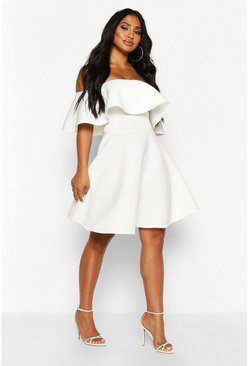 Ivory white Bonded Scuba Off The Shoulder Frill Skater Dress