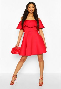 Bonded Scuba Off The Shoulder Frill Skater Dress, Red rosso