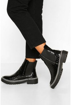 Black Wide Fit Croc Chain Detail Chunky Chelsea Boots