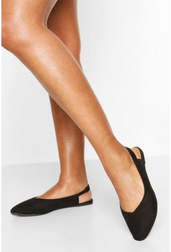 Black Wide Fit Pointed Sling Back Ballets