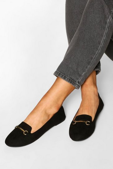 Black Wide Fit Metal Trim Slipper Ballets