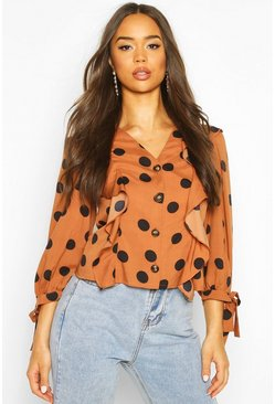Chocolate brown Polkadot Button Down Ruffle Blouse