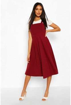 Berry red Pinafore Midi Skater Dress