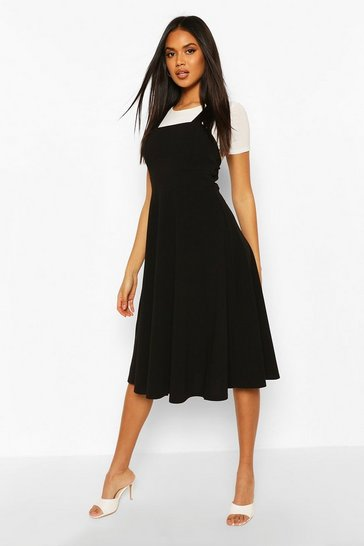 Black Pinafore Midi Skater Dress